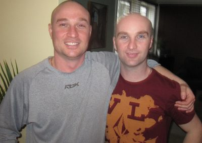 Scott and I with shaved heads