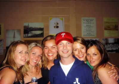 Mark with some of his favourite ladies at his fundraiser.