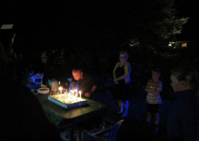 Blowing out candles in the dark.